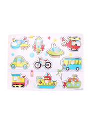 11-Piece Wooden Vehicles Cognitive Board Puzzle Toys