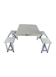 Foldable Chair and Table Set, Silver