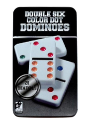 28-Pieces Double Six Color Dot Dominoes Premium Board Game with Metal Tin Case, 6+ Years