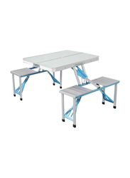 Folding Camping Table, 4 Seats, Silver