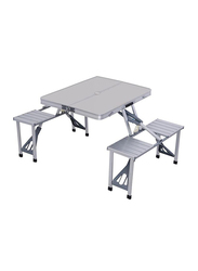 Intex Portable Folding Camping Table with 4 Seats, 34 x 26 x 26 inch, Silver