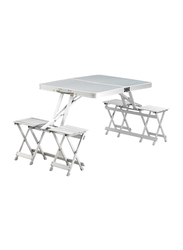 Generic Outdoor Portable Picnic Table, 4 Seats, White