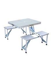 Vida Home Foldable Chair and Table Set, Silver