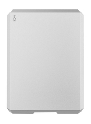 LaCie 4TB HDD Mobile Drive External Portable Hard Drive, USB-C/USB-A to USB-C Cables, STHG4000400, Moon Silver