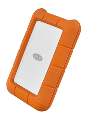 LaCie 2TB HDD Rugged External Portable Hard Drive, USB-C, Integrated Thunderbolt Cable, with USB-C to USB-C/USB-A Cables, STFS2000800, Orange