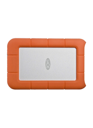 LaCie 2TB HDD Rugged Mini External Portable Hard Drive, Micro USB 3.0, Rubber Sleeve Protection, with Micro USB 3.0 Cable, LAC9000298, Orange