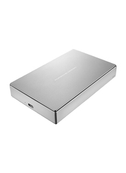 LaCie 4TB HDD Porsche Design Mobile Drive External Portable Hard Drive, USB-C, with USB-C to USB-A Cable, STFD4000400, Silver