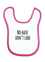 Cheeky Micky No Hair Don't Care Printed Bib for Girls, White