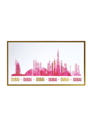 Dubai Skyline with Gold Foil Mounted Print, Vibrant Pink