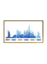 Dubai Skyline with Gold Foil Mounted Print, Vibrant Blue