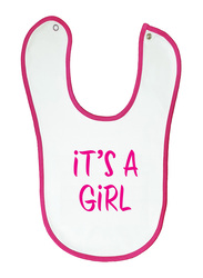 Cheeky Micky It's A Girl Soft Baby Bib, with Pink Trim, White
