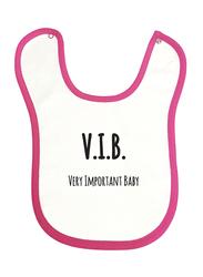 Cheeky Micky V.I.B. Very Important Baby Printed Bib for Girls, White