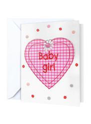 Fay Lawson Baby Girl Inside Heart Handmade Card, White