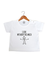Cheeky Micky I Heart My Daddy This Much Cotton T-Shirt, 6-12 Months, White