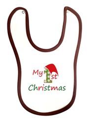 Cheeky Micky My 1st Christmas Printed Baby Bib Unisex, White/Brown