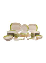 Royalford 64-Piece Ribble Design Melamine Dinnerware Set, RF8101, White/Green