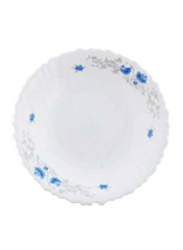 Royalford 9.5-inch Exquisite Floral Design Opal Ware Romantic Soup Plate, RF5680, White