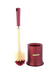 RoyalFord Toilet Brush, with Holder, 32cm, Red/Beige