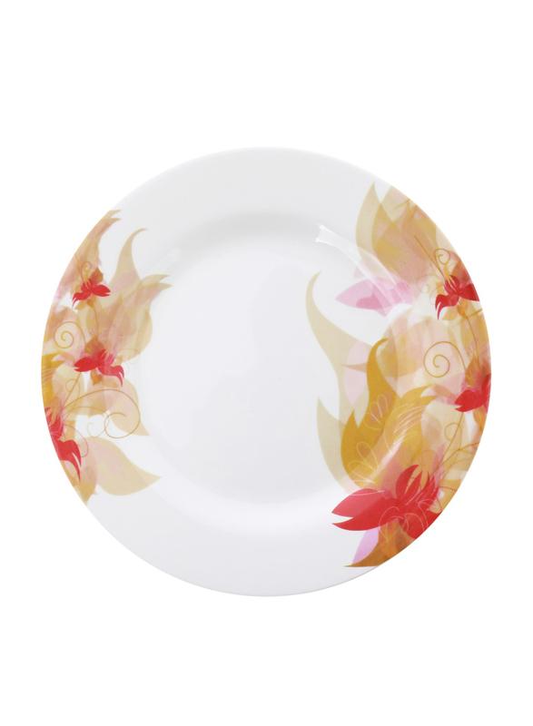 Royalford 8-inch Flower Carnival Pattern Melamine Ware Dinner Plate, RF5101, White
