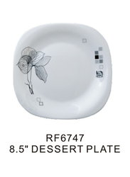 Royalford 8.5-inch Opal Ware Square Dessert Plate, RF6747, Spin White