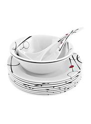 RoyalFord 45-Pieces Melamine Dinnerware Set, RF6718, White