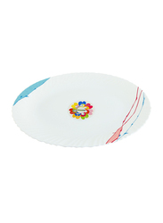 Royalford 14-inch Art Flower Design Opal Ware Oval Soup Plate, RF8874, White
