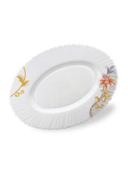 Royalford 14-inch Dream Rose Opal Ware Oval Dinner Plate, RF6096, White