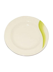 RoyalFord 8-inch Melamine Ware Super Round Rays Flat Plate, RF8025, Green/White