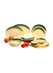 RoyalFord Ribble Designed 64-Pieces Melamine Ware Dinnerware Set, RF8103, Green/Beige