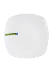 Royalford 6.5-inch Elegantly Curved Edges Porcelain Square Flat Plate, RF8759, White