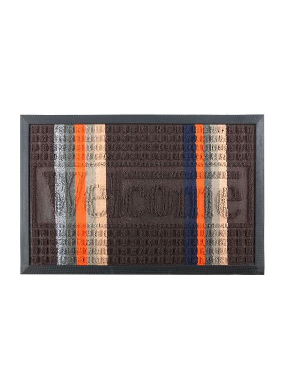 RoyalFord Rectangular Door Mat, 40x60 cm, Brown/Orange/Blue