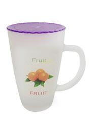 Delcasa 11oz Plastic Fruit Design Frosty Mug with Lid, DC1558, Purple/White
