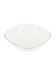 Royalford 6.5-inch Imperial Opal Square Serving/Soup Bowl, RF7876, Gold/White