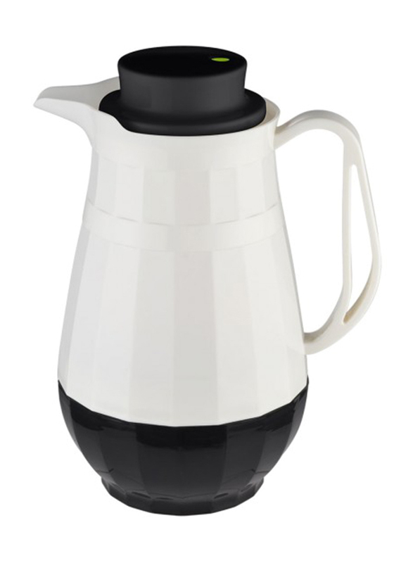 RoyalFord 1.0 Ltr Doublewall Glass Vacuum Flask, RF9673, White