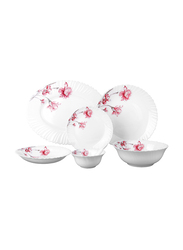 Royalford 33-Piece Opal Ware Dinner Set, RF8981, White/Red