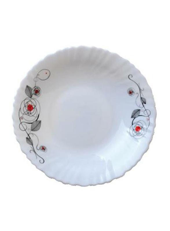 Royalford 9.5-inch Liza Opal Ware Soup Plate, RF6737, White
