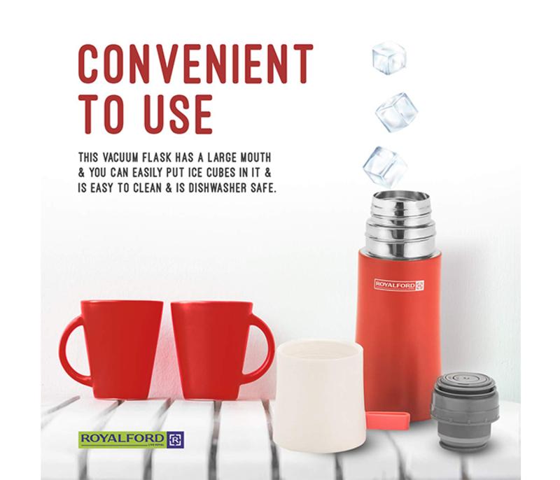 RoyalFord 350ml Stainless Steel Vacuum Bottle, RFU9036, Red
