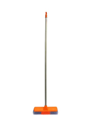 Delcasa PVC Coated Wooden Handle Broom, Grey/Orange/Silver