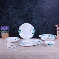 Royalford 27-Piece Melamine Ware Dinnerware Set, RF6722, White