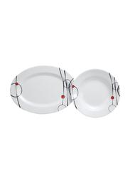 Royalford 45-Piece Attractive Floral Design Melamine Ware Dinnerware Set, RF6719, White