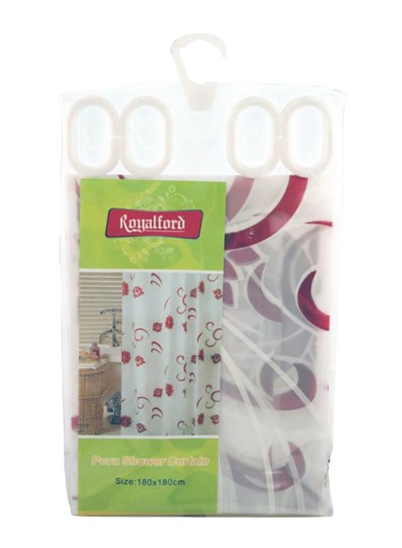 RoyalFord Peva Shower Curtain, 180x180cm, White/Red