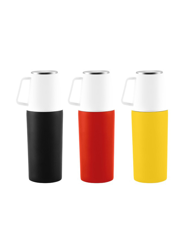 RoyalFord 350ml Stainless Steel Vacuum Bottle, RFU9035, Black/Red/Yellow