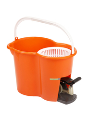 RoyalFord 360° Spin Easy Mop with Dehydration Bucket, Orange/White