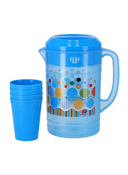 Delcasa Plastic Water Jug with 4 Glasses, DC1494, Blue