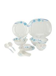 Delcasa 38-Piece Melamine Dinnerware Dinner Set, DC1765, White/Blue