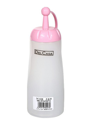Delcasa Plastic Ketchup Bottle with Cap, White/Pink