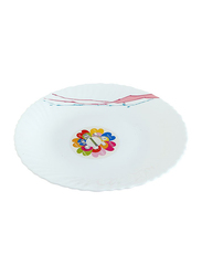 Royalford 8.5-inch Art Flower Design Opal Ware Soup Plate, RF8872, White