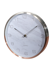 Royalford Round Decorative Wall Clock with Aluminium Frame, Silver & White