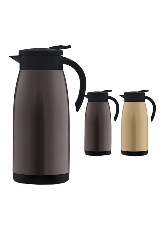 RoyalFord 1.2 Ltr Stainless Steel Vacuum Flask Coffee Pot, RF9700, Brown