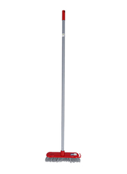 RoyalFord One Click Series Floor Broom Stick, Silver/Red